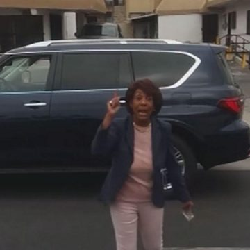 Maxine Waters Stops to Check on Police Stoppers Black Man
