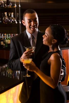 Couple at bar.