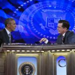 "FILE - This Dec. 8, 2014, file photo, shows President Barack Obama talking with Stephen Colbert of The Colbert Report during a taping of the program in Lisner Auditorium at George Washington University in Washington. It was supposed to be a joke. ""Are you still president?"" comedian Stephen Colbert asked Barack Obama earlier this month. But the question seemed to speak to growing weariness with the president and skepticism that anything will change in Washington during his final two years in office. Democrats already are checking out Obama's potential successors. Emboldened Republicans are trying to push aside his agenda in favor of their own. (AP Photo/Susan Walsh, File)"
