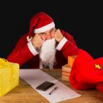A sulky Santa completely fed up with the holiday season